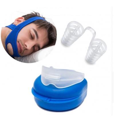 Anti-ronflement strap manibulaire + gouttière + écarteur nasal
